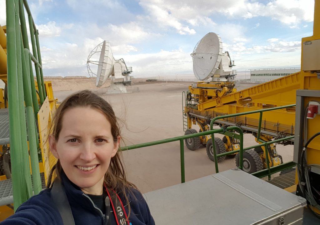 Transporter selfie! With 2 antennas in the background. (Credit: J. MacArthur)